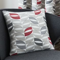Copeland Leaf Cushion Cover - Red & Grey