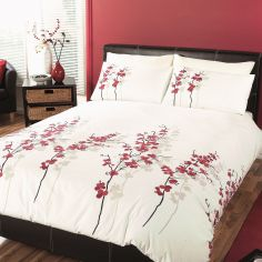 Oriental Flower Duvet Cover Set - Cream & Red