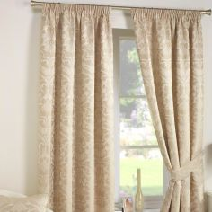 Crompton Jacquard Fully Lined Tape Top Curtains - Natural