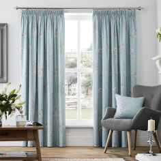 Flora Fully Lined Tape Top Curtains - Duck Egg Blue