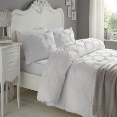 Elissa Embroidered 100% Cotton Duvet Cover Set - White