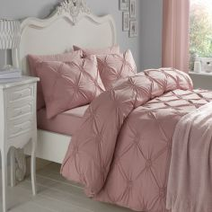 Elissa Embroidered 100% Cotton Duvet Cover Set - Blush Pink