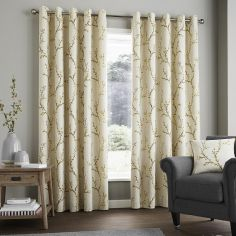 Hemsworth Floral Fully Lined Eyelet Curtains - Ochre Yellow