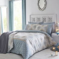 Indra Reversible Duvet Cover Set - Duck Egg Blue