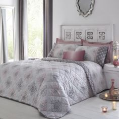 Indra Reversible Quilted Bedspread - Blush Pink