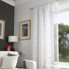 Harrogate Leaf Voile Curtain Panel - White