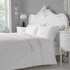Luxury Glance Duvet Cover Set - White Silver