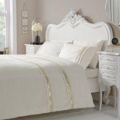 Luxury Glance Duvet Cover Set - Cream Gold