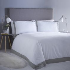 Madison Stripe Hotel Style Duvet Cover Set - White & Grey