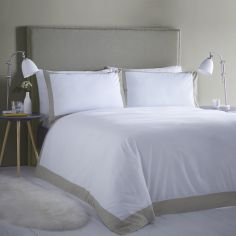 Madison Stripe Hotel Style Duvet Cover Set - White & Taupe