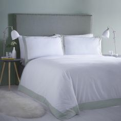 Madison Stripe Hotel Style Duvet Cover Set - White & Duck Egg Blue