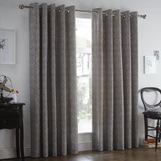 Hanworth Floral Eyelet Thermal Lined Curtains - Charcoal Grey