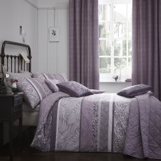 Hanworth Floral Stripe Reversible Duvet Cover Set - Heather Purple