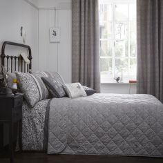 Hanworth Floral Stripe Quilted Reversible Bedspread - Charcoal Grey