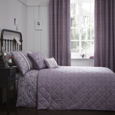 Hanworth Floral Stripe Quilted Reversible Bedspread - Heather Purple