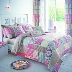 Shantar Patchwork Duvet Cover Set - Pink