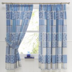 Shantar Patchwork Thermal Tape Top Curtains - China Blue