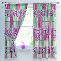Shantar Patchwork Thermal Tape Top Curtains - Pink