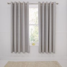 Rathmoore Thermal Lined Ring Top Curtains - Silver