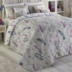Haze Floral Quilted Reversible Bedspread - Blue & Purple