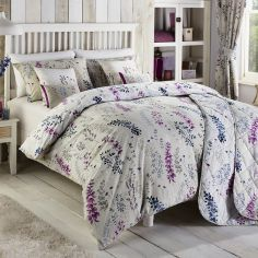 Haze Floral Reversible Duvet Cover Set - Blue & Purple