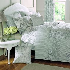 Malton Floral Quilted Reversible Bedspread - Slate Grey