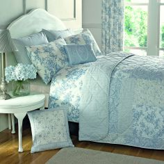Malton Floral Quilted Reversible Bedspread - Blue