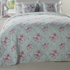 Penelope Floral Striped Reversible Bedspread - Duck Egg Blue