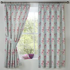 Penelope Floral Lined Tape Top Curtains - Duck Egg Blue