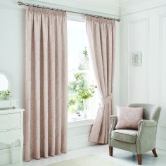 Luxury Laurent Jacquard Tape Top Lined Curtains - Rose Pink