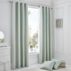 Ebony Floral Fully Lined Eyelet Curtains - Duck Egg Blue