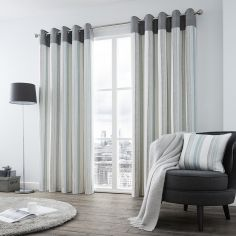 Rydell Stripe Fully Lined Eyelet Curtains - Teal Blue