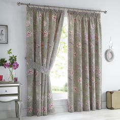 Jade Floral Lined Tape Top Curtains - Stone