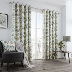 Karsten Floral Print Fully Lined Eyelet Curtains - Teal Blue