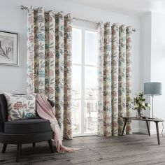 Karsten Floral Print Fully Lined Eyelet Curtains - Blush Pink