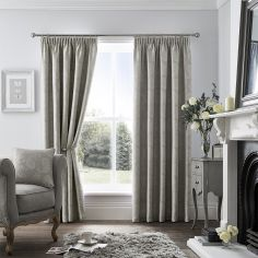 Luxury Ashford Jacquard Tape Top Curtains - Silver