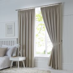 Dijon Thermal Blackout Tape Top Curtains - Natural