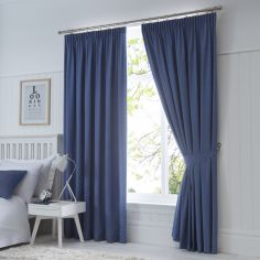 Dijon Thermal Blackout Tape Top Curtains - Denim Blue