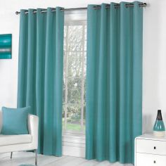 Sorbonne Fully Lined Eyelet Curtains - Teal Blue