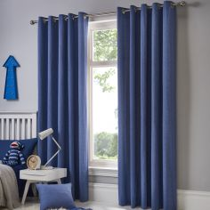 Sorbonne Plain Lined Eyelet Curtains - Denim Blue