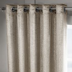 Velvet Sparkle Glitter Stripe Fully Lined Ring Top Curtains - Praline Gold