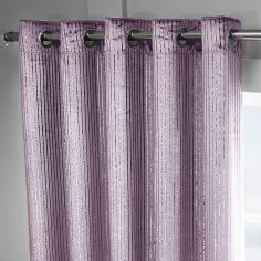 Velvet Sparkle Glitter Stripe Fully Lined Ring Top Curtains - Blossom Pink Blush