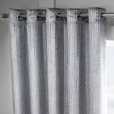 Velvet Sparkle Glitter Stripe Fully Lined Ring Top Curtains - Silver Grey