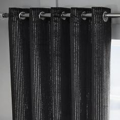 Velvet Sparkle Glitter Stripe Fully Lined Ring Top Curtains - Black