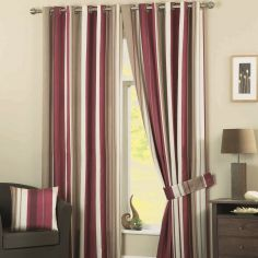 Whitworth Striped Fully Lined Eyelet Curtains - Claret Red