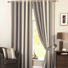 Whitworth Striped Fully Lined Eyelet Curtains - Charcoal Grey