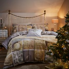 Catherine Lansfield Christmas Greetings Reversible Duvet Cover Set