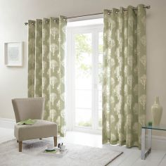 Woodland Trees Fully Lined Eyelet Curtains - Green
