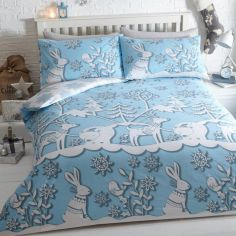 Mountain Snow Duvet Cover Set Blue
