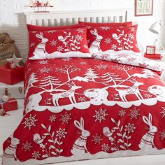 Mountain Snow Duvet Cover Set Red